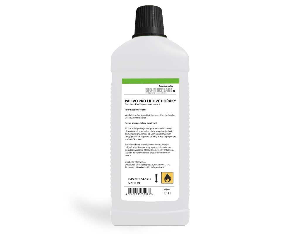 1 L Alcohol pro lihové krby (Biolieh, Bio Gél, Bio etanol, bioalkohol, Bio lieh, biogélov, Technicky denaturovaný lieh)