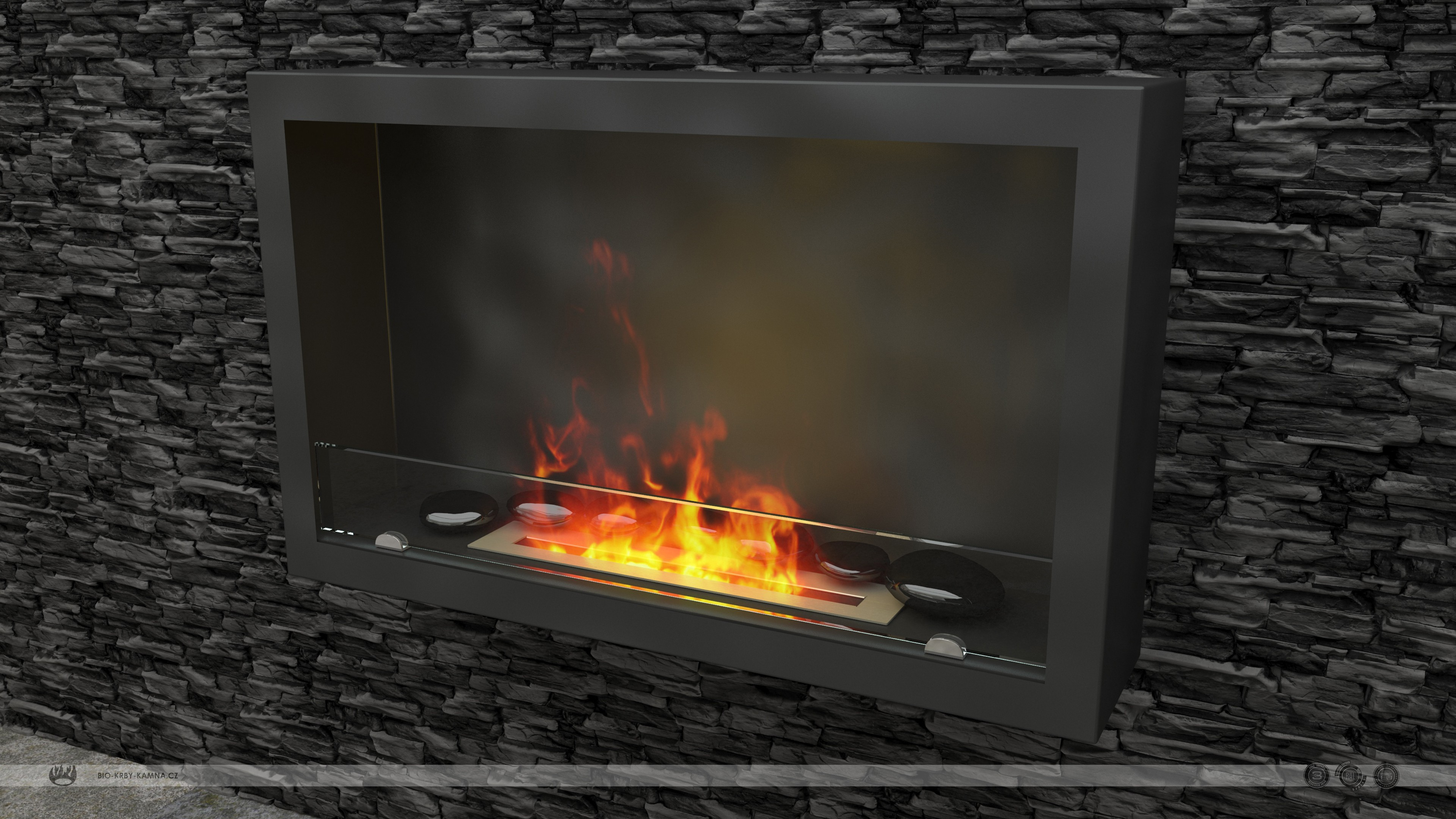 Fireplace without chimney AF-61 + Burner 480 + Black polished stones