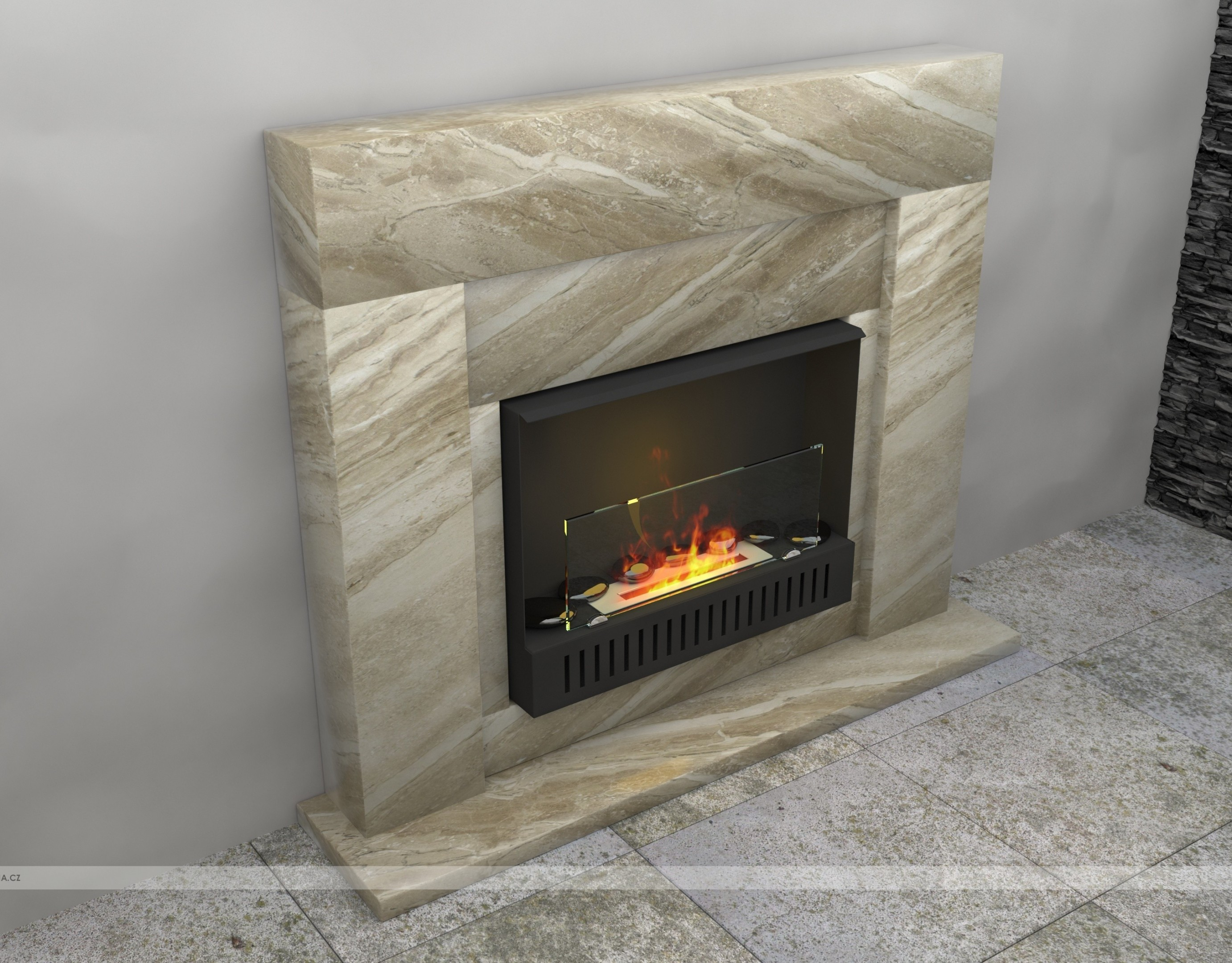 STONE-09 fireplaces without chimney