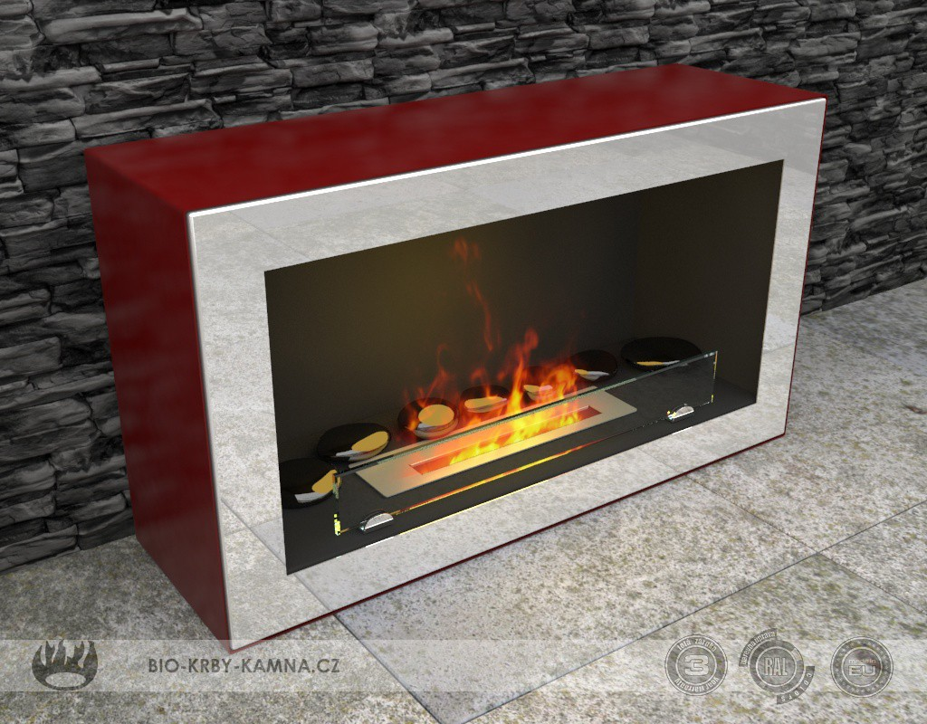 Fireplace without chimney KOLOUR AF-25 + Accessories: Rear black wall